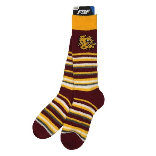 Stripe Bulldog Head Fuzzy Socks by FBF *