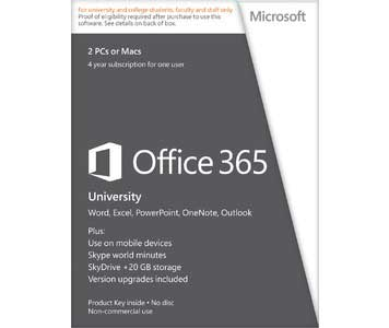 Image For MS Office 365 University 4-Yr Subscription for PC/Mac