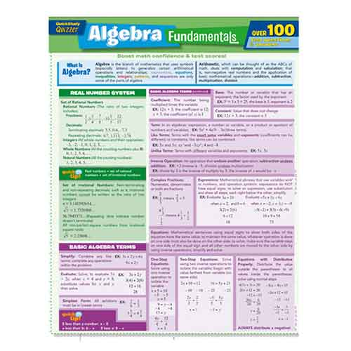 Image For Algebra Fundamentals Quizzer by BarCharts Inc.