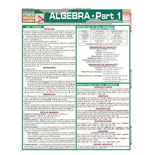 Image For Algebra Part 1 by BarCharts Inc.