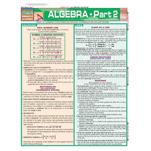 Image For Algebra Part 2 by BarCharts Inc.