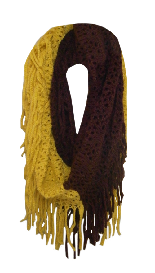 Image For Maroon and Gold Fringe Infinity Scarf by Zoozatz