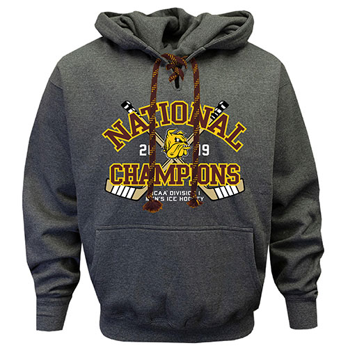 Image For National Champions 2019 NCAA Hockey Lace Up Hood by Sigcon
