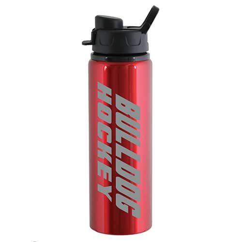 Image For *Bulldog Hockey Aluminum Water Bottle by Spirit - Red