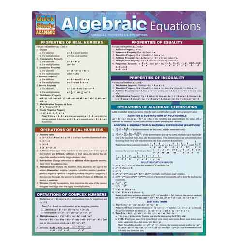 Image For Algebraic Equations by BarCharts Inc.