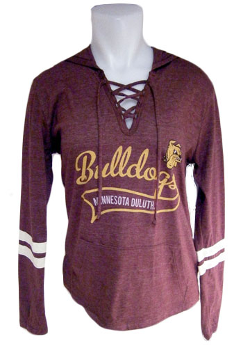 Image For Women's Bulldogs Lace Up Hooded Long Sleeve Tee by Blue 84