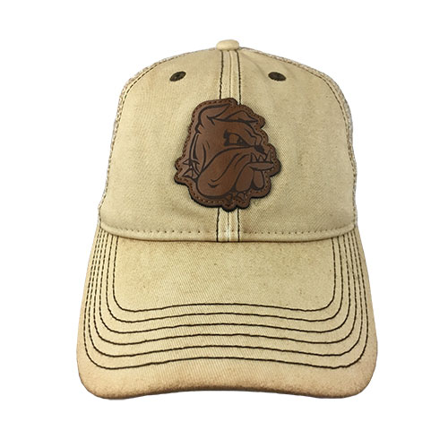 Image For Bulldog Head Leather Patch Cap by Legacy