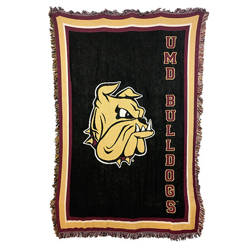 Image For UMD Bulldogs Gold Bulldog Head Afghan 48x69