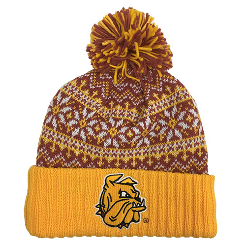Image For Bulldog Head Snowflakes Pompom Hat by CCM