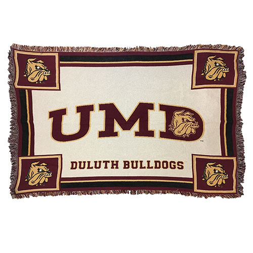 Image For UMD Duluth Bulldogs White Afghan 48x69