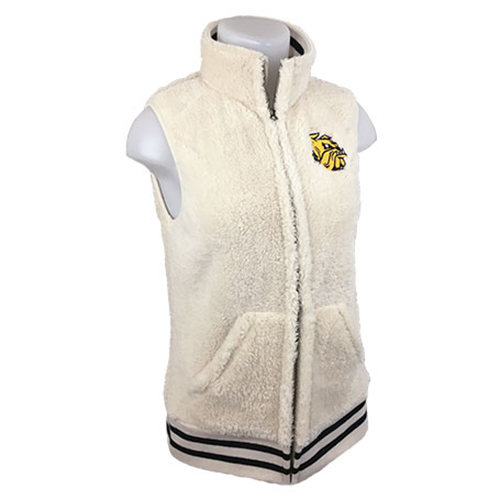 Image For Women's Bulldog Head Sherpa Vest by Zoozatz