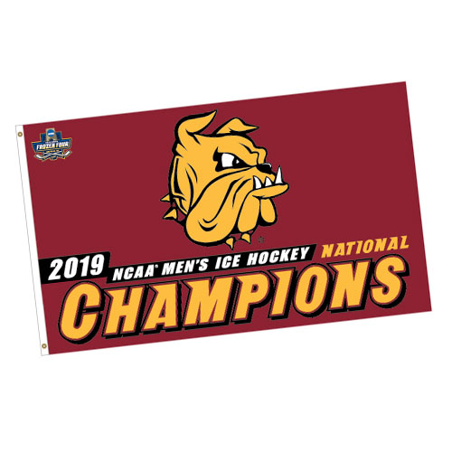 Image For 2019 NCAA Hockey National Champions Bulldog Head 3x5 Flag
