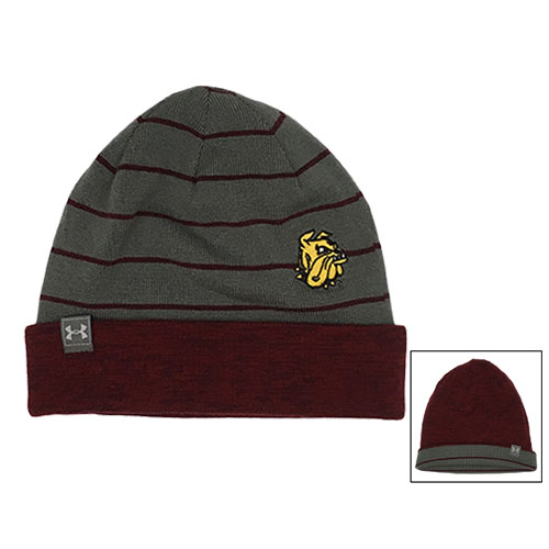 Image For Bulldog Head Reversible Stripe Beanie by Under Armour