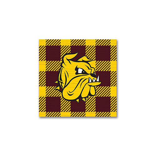 Image For Bulldog Head Plaid Square Magnet 3x3 by Legacy