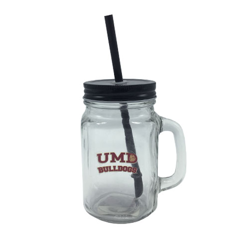 Image For UMD Bulldogs Mason Jar with Straw