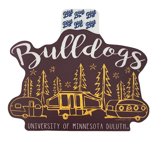 "Cover Image For Bulldogs Camping 4"" Vinyl Sticker Decal by Blue 84"