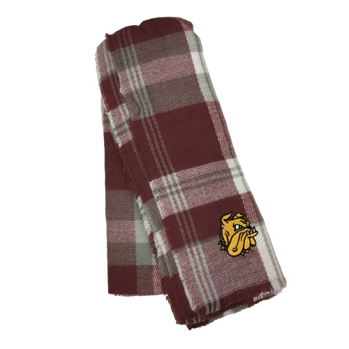 Image For Bulldog Head Plaid Scarf by Zoozatz