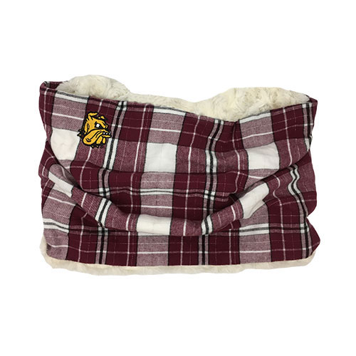 Image For Bulldog Head Plaid Sherpa Cowl Scarf by Zoozatz
