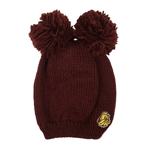 Image For Bulldog Head Double Pompom Hat by Logofit