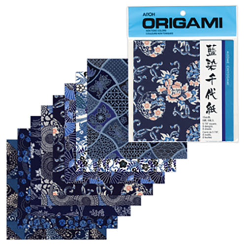 Image For Aizome Chiyogami Washi Origami Paper Pack of 8 by Aitoh