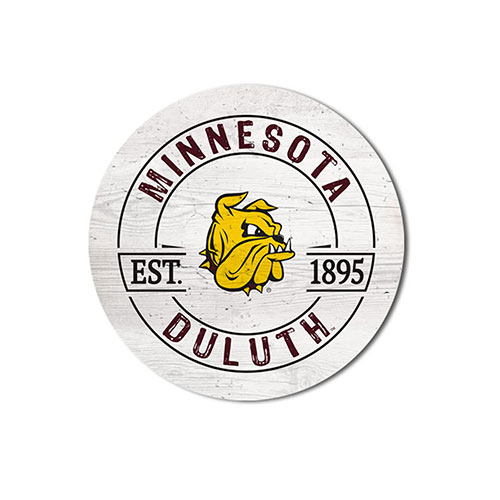 Image For *Bulldog Head Minnesota Duluth Circle Wood Magnet by Legacy