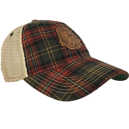 Image For *Bulldog Head Plaid Adjustable Trucker Cap by Legacy