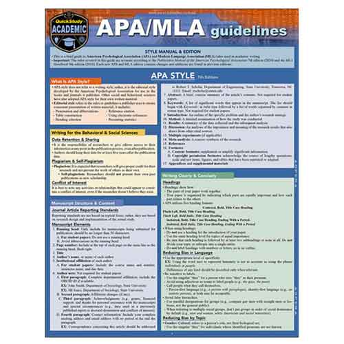 Image For APA/MLA Guidelines 2020 by BarCharts Inc.