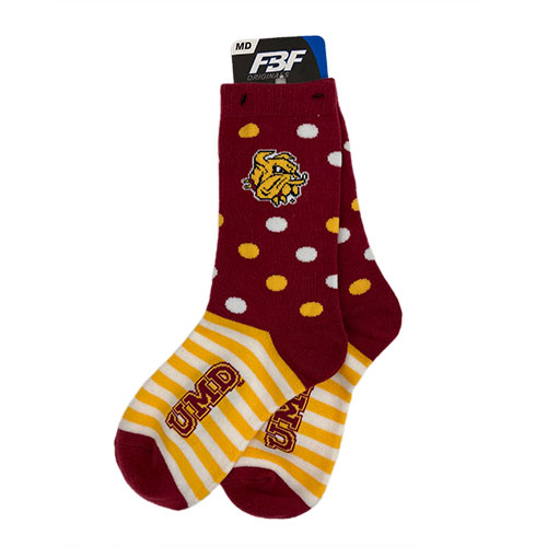 Image For *UMD Bulldog Head Dots and Stripes Socks by FBF