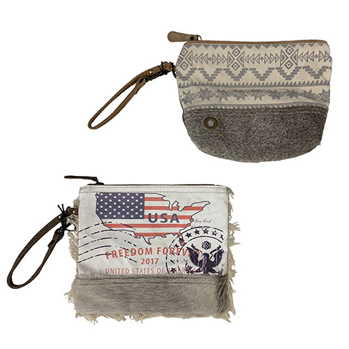 Image For Myra Bag Cowhide Zip Pouches